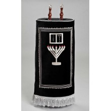 Torah Cover with Chabad Menorah and Luchos M-4132