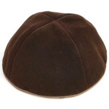 Brown Velvet Kippah 4 Part With Rim