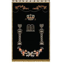 Parochet with Ten Commandments and pillars of menorah P-5104