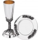 Sterling Silver Kiddush Cup With Tray KG14